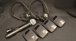 BL&S Portable Hearing Assist System – wireless microphone, headphones, and receivers